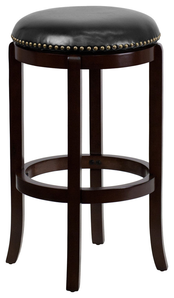 29'' High Backless Cappuccino Wood Barstool with Black LeatherSoft Swivel Seat