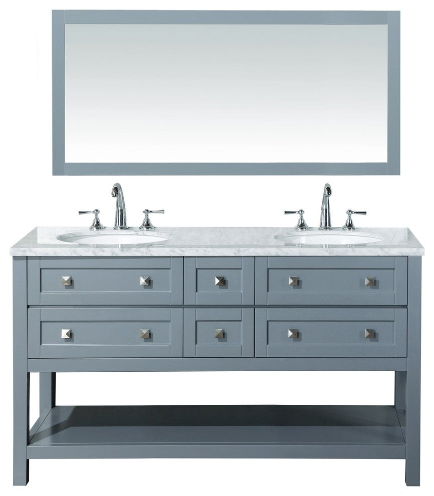 "Marla Sink Bathroom Vanity With Mirror, Gray, 72"" - Pot Racks Plus"