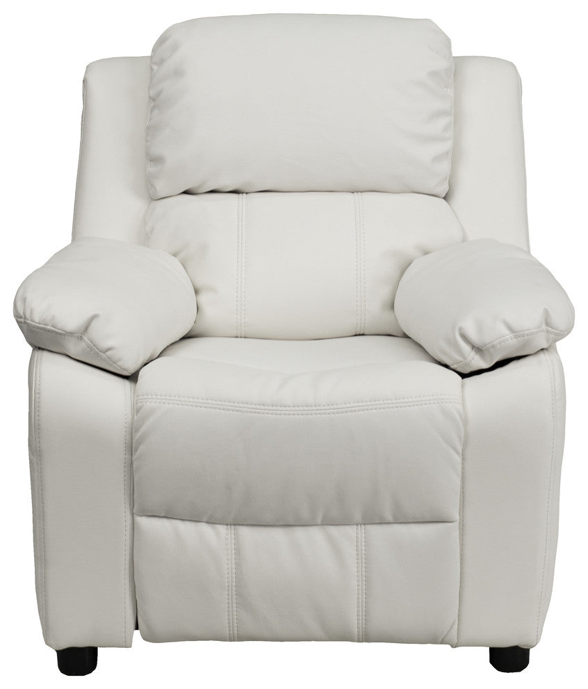 Flash Furniture   Deluxe Padded Contemporary White Vinyl Kids Recliner with Storage Arms - Pot Racks Plus