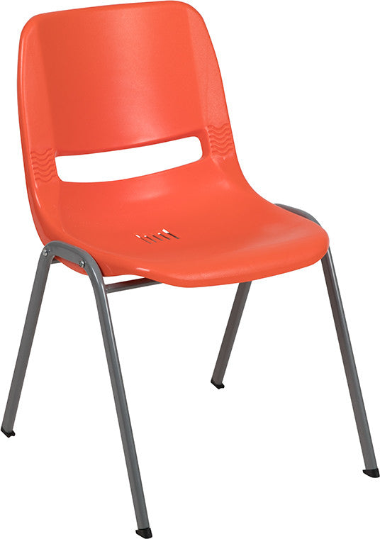 HERCULES Series 880 lb. Capacity Orange Ergonomic Shell Stack Chair with Gray Frame