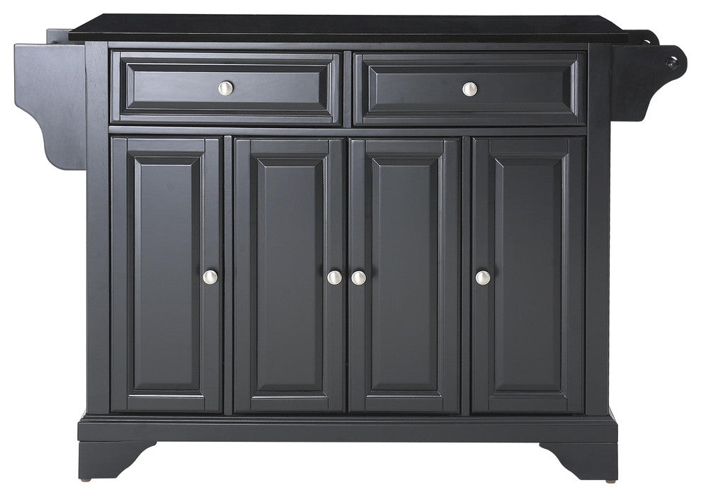 LaFayette Solid Black Granite Top Kitchen Island, Black Finish - Pot Racks Plus