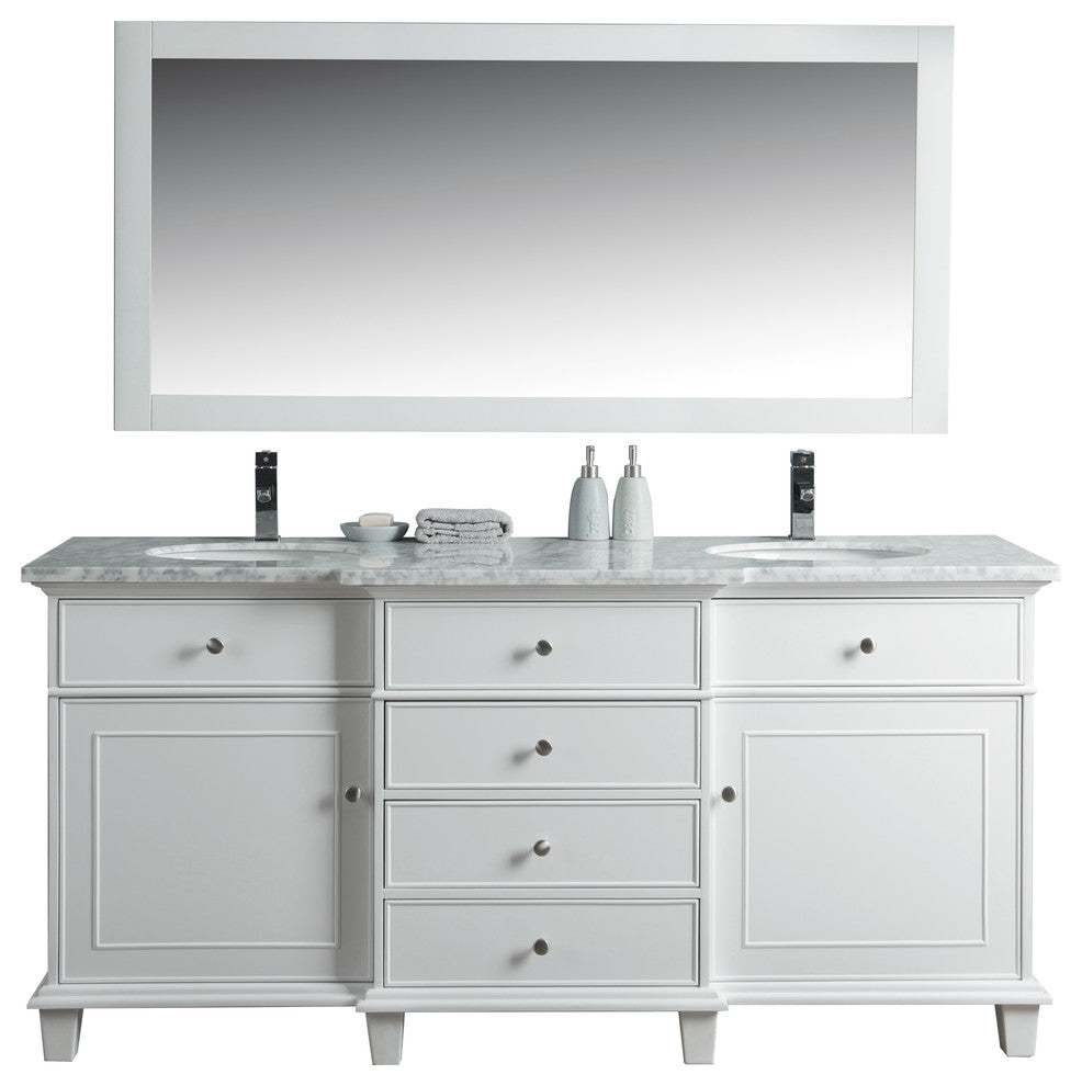 "Cadence Bathroom Vanity With Mirror, White, 22""x72""x34.5"" - Pot Racks Plus"