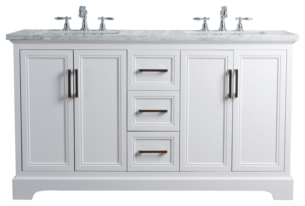 "Ariane 60"" White Double Vanity Cabinet Dual Bathroom Sinks - Pot Racks Plus"