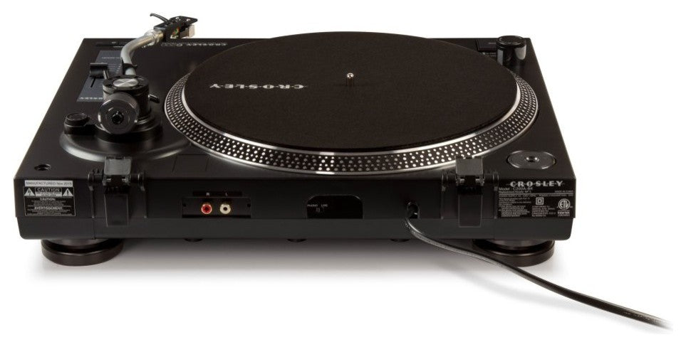 Direct Drive Turntable with S-Shaped Tone Arm, Black - Pot Racks Plus