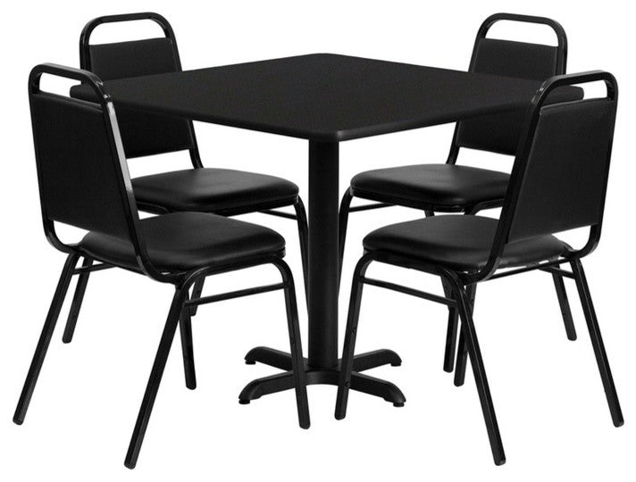 36'' Square Black Laminate Table Set with X-Base and 4 Black Trapezoidal Back Banquet Chairs