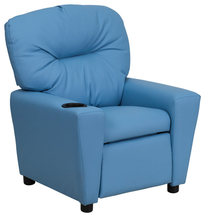 Flash Furniture   Contemporary Light Blue Vinyl Kids Recliner with Cup Holder - Pot Racks Plus