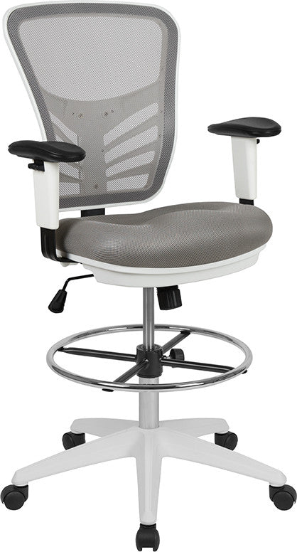 Mid-Back Light Gray Mesh Ergonomic Drafting Chair with Adjustable Chrome Foot Ring, Adjustable Arms and White Frame