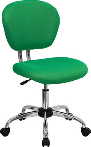 Mid-Back Bright Green Mesh Padded Swivel Task Office Chair with Chrome Base