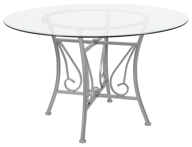 Flash Furniture Princeton 48'' Round Glass Dining Table with Silver Metal Frame - Pot Racks Plus