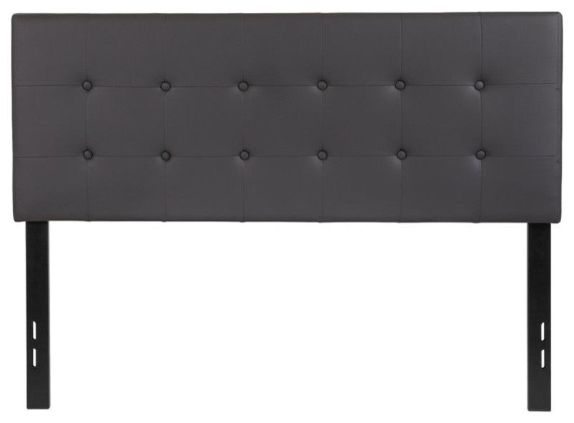 Lennox Tufted Upholstered Full Size Headboard in Gray Vinyl