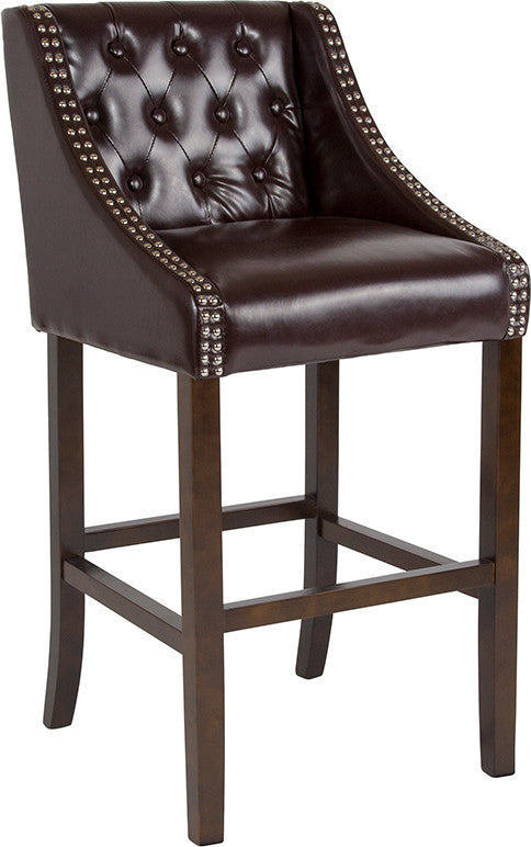 "Flash Furniture Carmel Series 30"" High Transitional Tufted Walnut Barstool with Accent Nail Trim in Brown LeatherSoft - Pot Racks Plus"