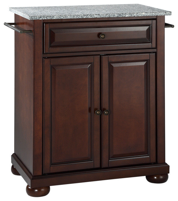 Alexandria Solid Granite Top Portable Kitchen Island, Vintage Mahogany Finish - Pot Racks Plus