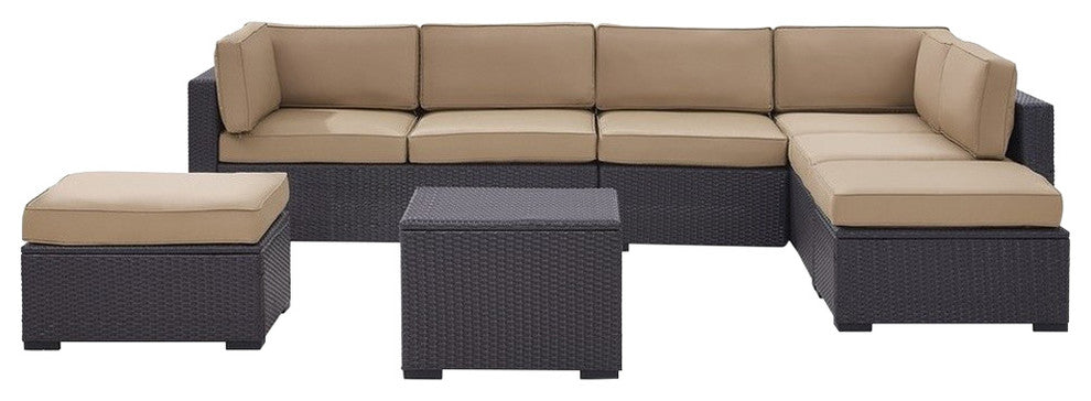Biscayne Wicker 2 Loveseats, 1 Armless Chair, Coffee Table, 2 Ottomans, Mocha - Pot Racks Plus
