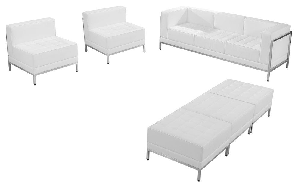 HERCULES Imagination Series Melrose White LeatherSoft Sofa, Chair & Ottoman Set