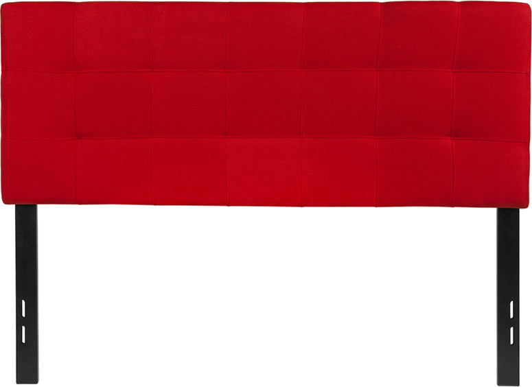 Bedford Tufted Upholstered Full Size Headboard in Red Fabric