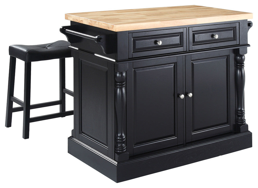 "Butcher Block Top Kitchen Island, Black Finish With 24"" Black Upholstered Sadd - Pot Racks Plus"