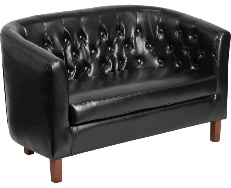 HERCULES Colindale Series Black LeatherSoft Tufted Loveseat