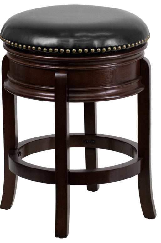 24'' High Backless Cappuccino Wood Counter Height Stool with Carved Apron and Black LeatherSoft Swivel Seat