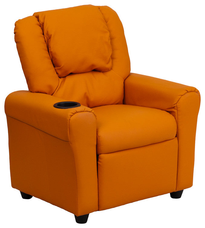 Flash Furniture   Contemporary Orange Vinyl Kids Recliner with Cup Holder and Headrest - Pot Racks Plus