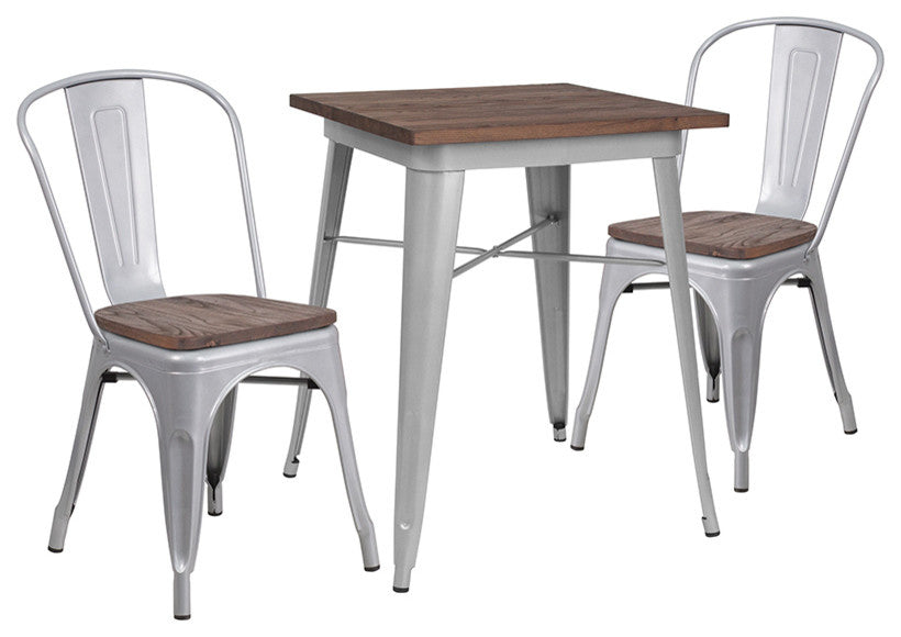 "23.5"" Square Silver Metal Table Set with Wood Top and 2 Stack Chairs"
