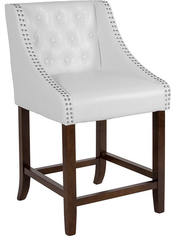 "Flash Furniture Carmel Series 24"" High Transitional Tufted Walnut Counter Height Stool with Accent Nail Trim in White LeatherSoft - Pot Racks Plus"