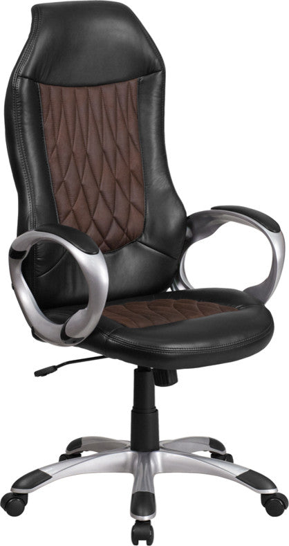 High Back Brown Fabric and Black Vinyl Executive Swivel Office Chair with Arms