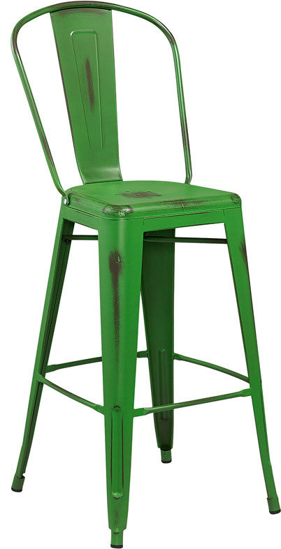 "Commercial Grade 30"" High Distressed Green Metal Indoor-Outdoor Barstool with Back"