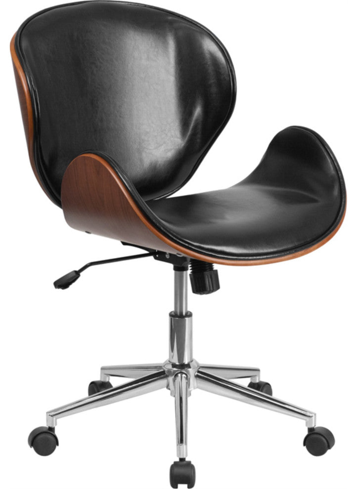 Mid-Back Walnut Wood Conference Office Chair in Black LeatherSoft