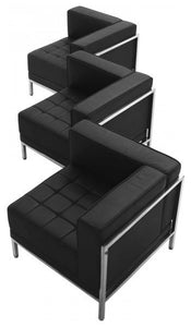 HERCULES Imagination Series Black LeatherSoft 3 Piece Corner Chair Set