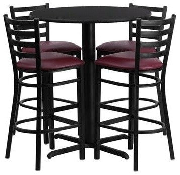 30'' Round Black Laminate Table Set with X-Base and 4 Ladder Back Metal Barstools - Burgundy Vinyl Seat