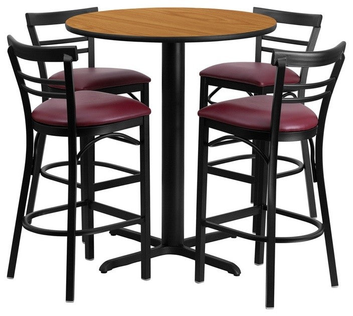 24'' Round Natural Laminate Table Set with X-Base and 4 Two-Slat Ladder Back Metal Barstools - Burgundy Vinyl Seat