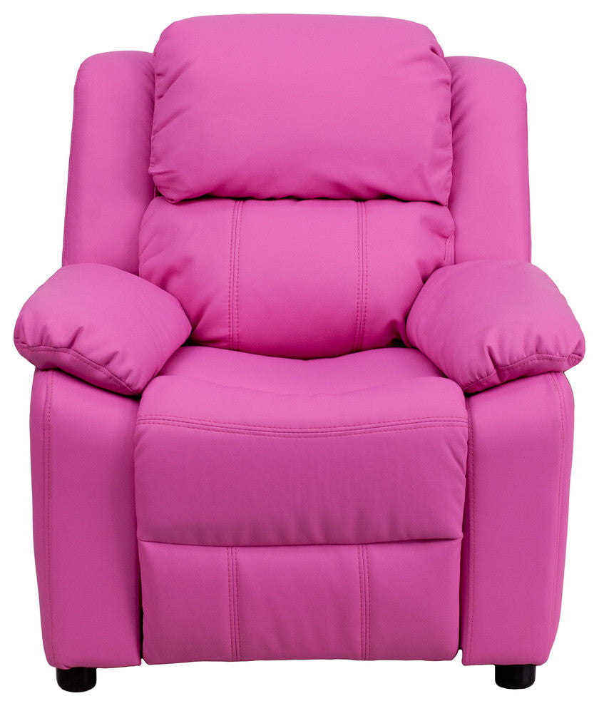 Flash Furniture   Deluxe Padded Contemporary Hot Pink Vinyl Kids Recliner with Storage Arms - Pot Racks Plus
