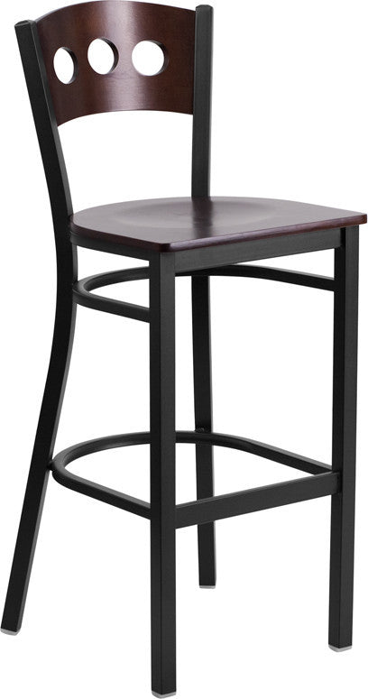 HERCULES Series Black 3 Circle Back Metal Restaurant Barstool - Walnut Wood Back & Seat