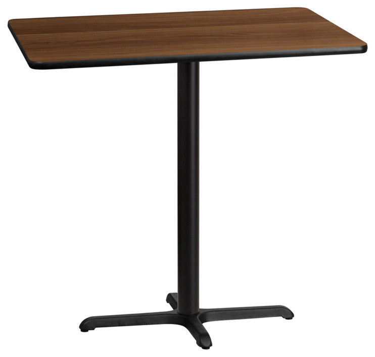 30'' x 42'' Rectangular Walnut Laminate Table Top with 23.5'' x 29.5'' Bar Height Table Base