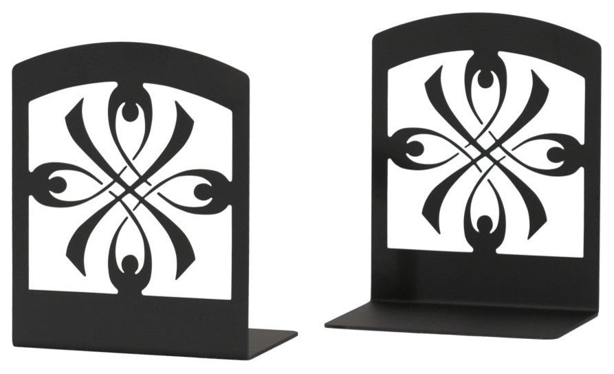 "Wrought Iron Book Ends, 5"" x6 1/4"" x3 1/2"", Ribbon"