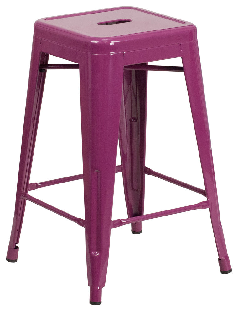 "Commercial Grade 24"" High Backless Purple Indoor-Outdoor Counter Height Stool"