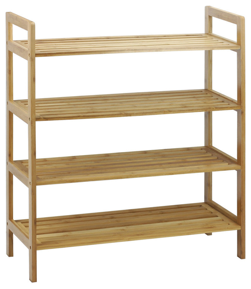 4-Tier Bamboo Shoe Rack, Natural - Pot Racks Plus
