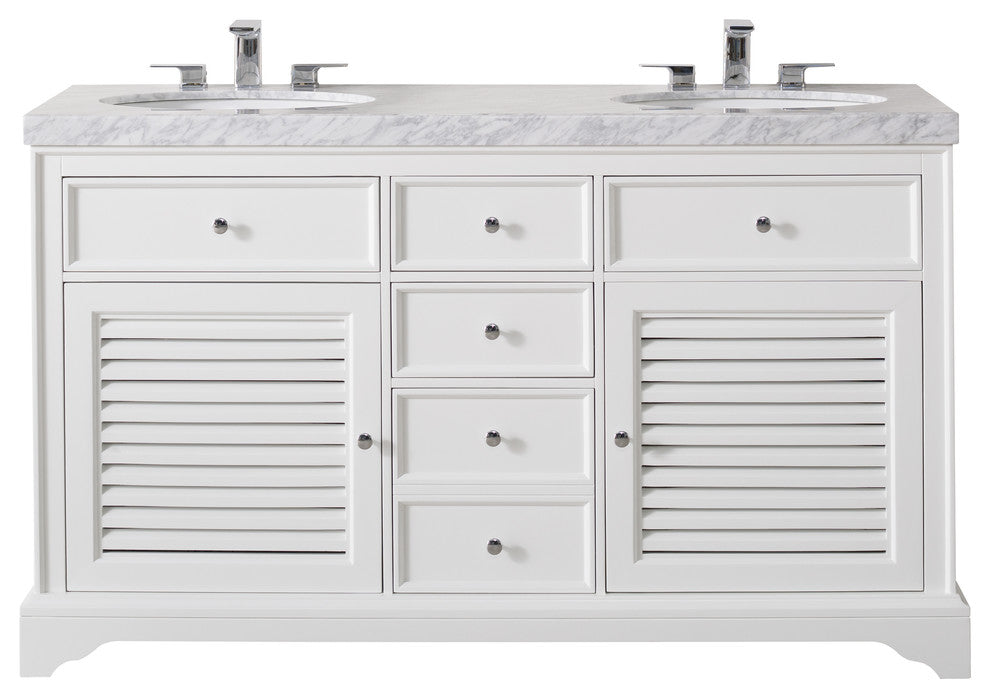 Magnolia 60 Inch White Double Sink Bathroom Vanity W/Drain & Faucets-Matte Black - Pot Racks Plus