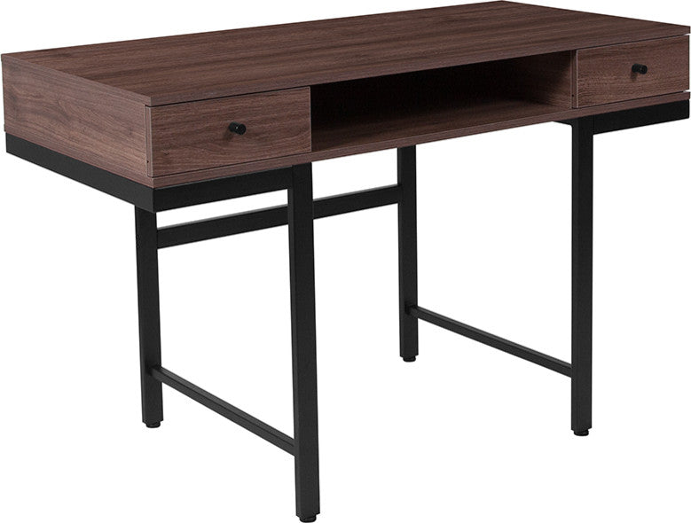 Bartlett Dark Ash Wood Grain Finish Computer Desk with Drawers and Black Metal Legs