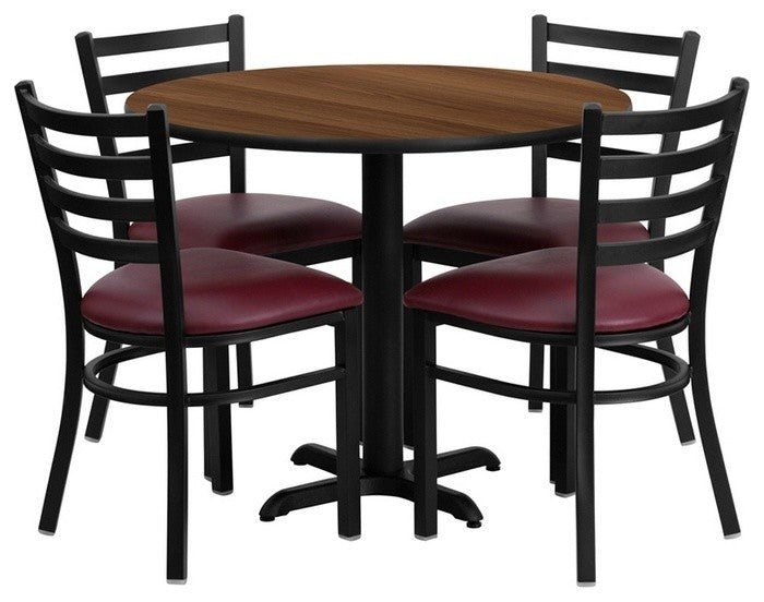 36'' Round Walnut Laminate Table Set with X-Base and 4 Ladder Back Metal Chairs - Burgundy Vinyl Seat