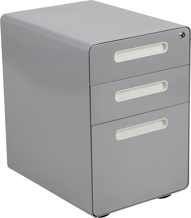 Ergonomic 3-Drawer Mobile Locking Filing Cabinet with Anti-Tilt Mechanism and Hanging Drawer for Legal & Letter Files, Gray