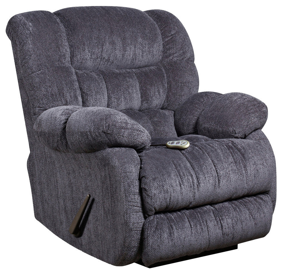 Flash Furniture  Massaging Columbia Indigo Blue Microfiber Recliner With Heat Control - Pot Racks Plus