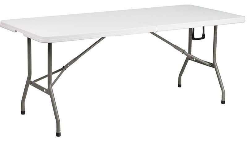 6-Foot Bi-Fold Granite White Plastic Banquet and Event Folding Table with Carrying Handle