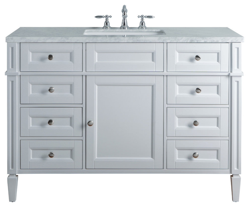 "Anastasia French 48"" White Single Sink Bathroom Vanity - Pot Racks Plus"