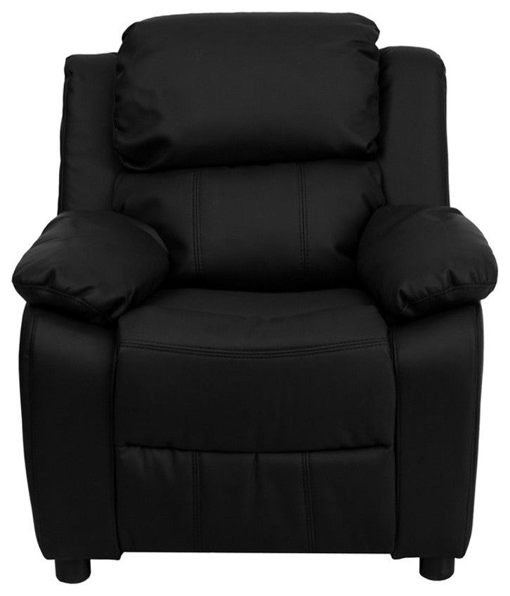 Flash Furniture   Deluxe Padded Contemporary Black LeatherSoft Kids Recliner with Storage Arms - Pot Racks Plus