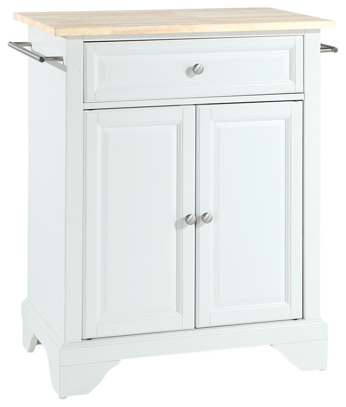 LaFayette Natural Wood Top Portable Kitchen Island, White Finish - Pot Racks Plus