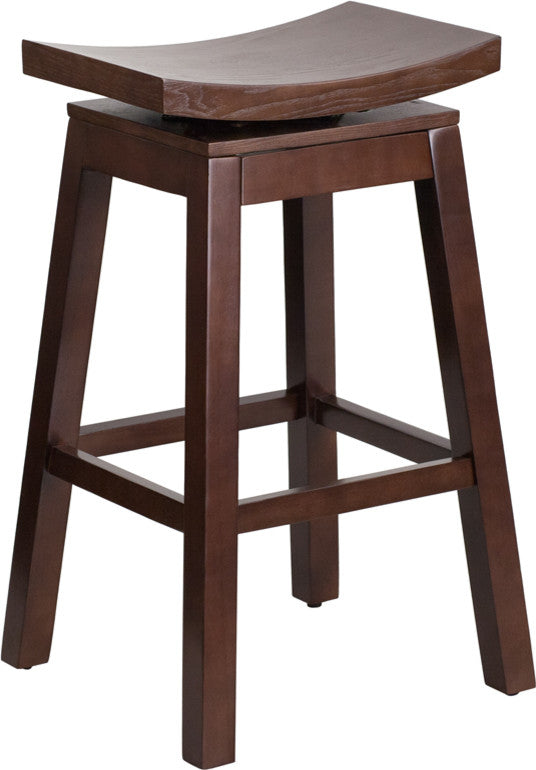 30'' High Saddle Seat Cappuccino Wood Barstool with Auto Swivel Seat Return