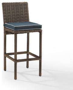 Bradenton Outdoor Wicker Bar Height Stools, Set of 2, With Cushions, Navy - Pot Racks Plus