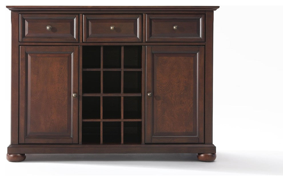 Alexandria Buffet Server-Sideboard Cabinet With Wine Storage, Vintage Mahogany - Pot Racks Plus