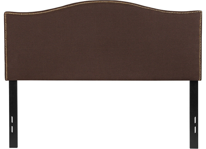 Lexington Upholstered Full Size Headboard with Accent Nail Trim in Dark Brown Fabric